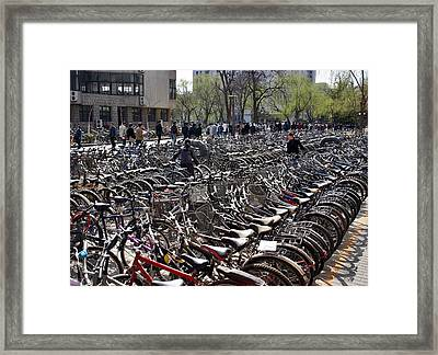 Framed Print featuring the photograph China Bicycle Parking by Henry Kowalski