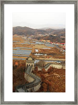 China, Dandong, Elevated View Framed Print by Anthony Asael