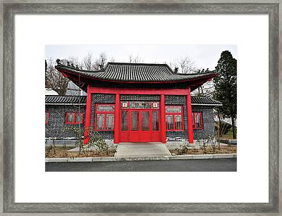 China, Dandong, Roofed Built Structure Framed Print by Anthony Asael