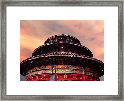 China Pavilion At Sunset Framed Print by Lourry Legarde