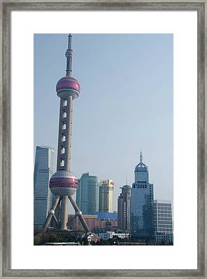 China, Shanghai View From The Bund Framed Print