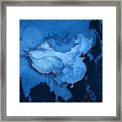 China Topographic Map Framed Print by Frank Ramspott