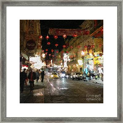 China Town At Night Framed Print by Linda Woods