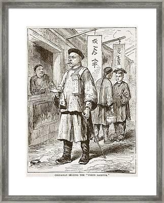 Chinaman Selling The Pekin Gazette Framed Print by English School