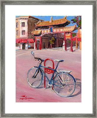 Chinatown Bicycle Framed Print by Ron Wilson