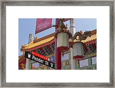 Chinatown Entry Gate On West Pender Framed Print by William Sutton