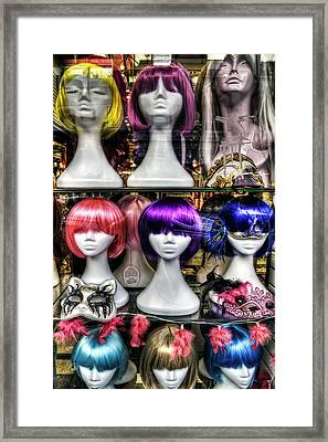 Chinatown San Francisco Colorful Wigs On Female Mannequin Heads  Framed Print by Jennifer Rondinelli Reilly - Fine Art Photography