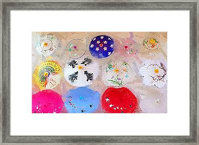Chinatown Umbrellas Framed Print by Ron Regalado