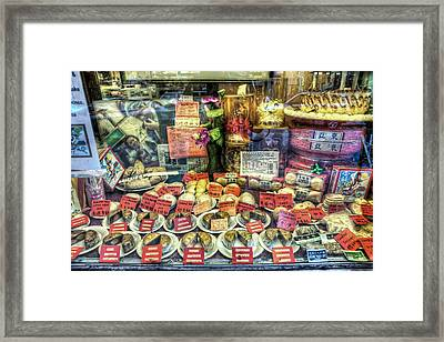 Chinatown Window Display Of Chinese Food  Framed Print by Jennifer Rondinelli Reilly - Fine Art Photography
