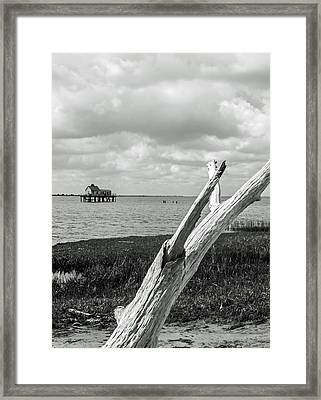 Chincoteague Oystershack Bw Vertical Framed Print
