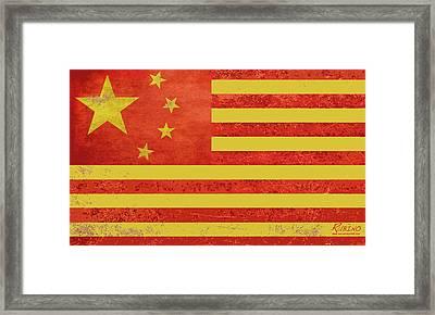 Chinese American Flag Framed Print by Tony Rubino