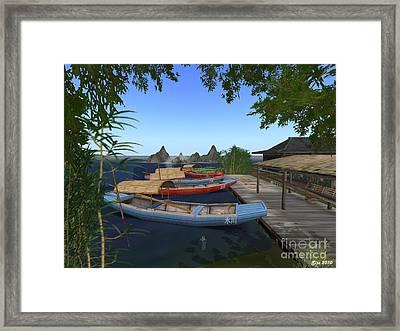 Framed Print featuring the digital art Chinese Boats by Susanne Baumann