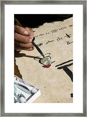 Chinese Calligrapher Painting Framed Print by Panoramic Images