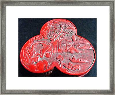 Chinese Cinnabar Trefoil Container Framed Print by Anonymous