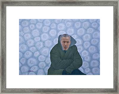 Chinese Citizen Barack Obama Is Waiting For Selling Chinese Cabbage Framed Print by Tu Guohong