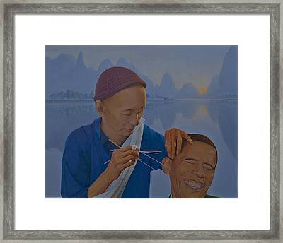 Chinese Citizen Barack Obama On The Ear Scops Framed Print by Tu Guohong
