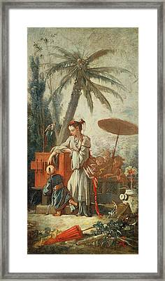 Chinese Curiosity, Study For A Tapestry Cartoon, C.1742 Oil On Canvas Framed Print by Francois Boucher