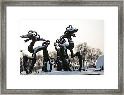 Chinese Dragons Framed Print by Brett Geyer