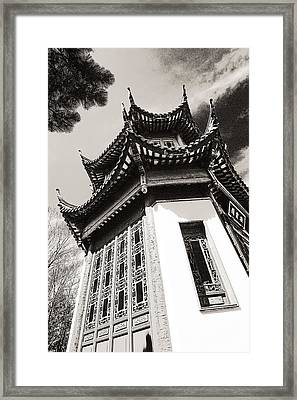 Chinese Garden In Montreal Framed Print by Arkady Kunysz