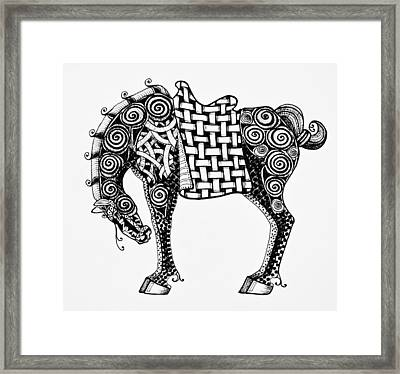 Chinese Horse - Zentangle Framed Print