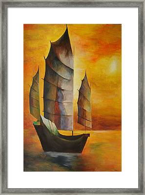 Chinese Junk In Ochre Framed Print