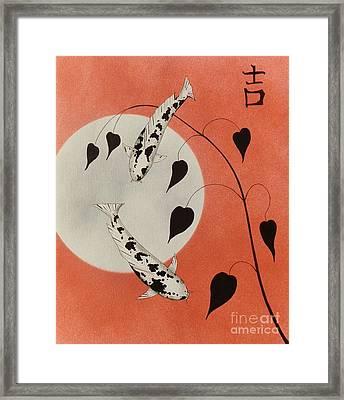 Lucky Chinese Koi Red Good Luck  Framed Print by Gordon Lavender