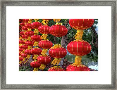 Chinese Lanterns Along The Walkway Framed Print