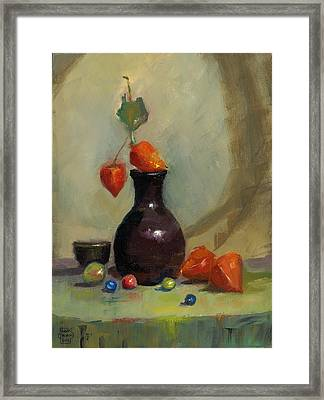 Chinese Lanterns And Marbles Framed Print by Susan Thomas