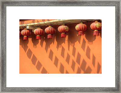 Chinese Lanterns And Shadows Playing Framed Print by Darrell Gulin