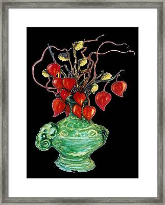Chinese Lanterns On Black Framed Print by Rae Chichilnitsky