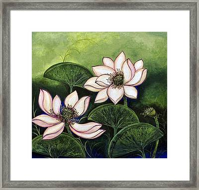 Chinese Lotus With Gold Pollen Framed Print