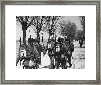 Chinese Men March Off To War Framed Print by Underwood Archives