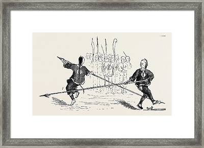 Chinese Military Exercises Fencing With Spears Framed Print by English School