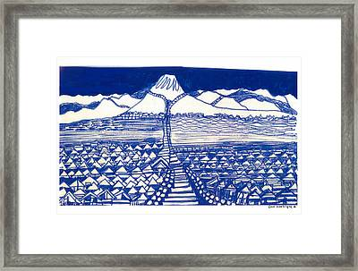Framed Print featuring the drawing Chinese Mountain by Don Koester