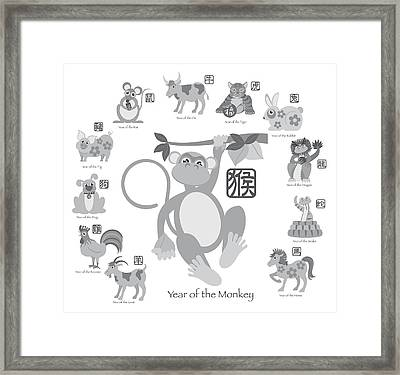 Chinese New Year Monkey With Twelve Zodiacs Illustration Framed Print by JPLDesigns