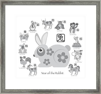 Chinese New Year Rabbit With Twelve Zodiacs Illustration Framed Print by JPLDesigns