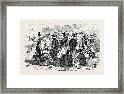 Chinese Nursemaids On The Parade Ground Hong Kong Framed Print by English School