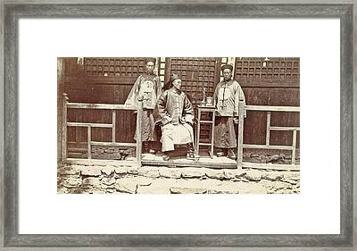 Chinese Officials For A Home In Tibet Framed Print by Artokoloro