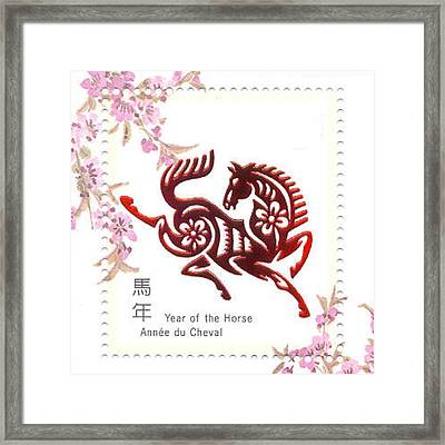 Chinese Papercuts Happy New Year Of The Horse Framed Print