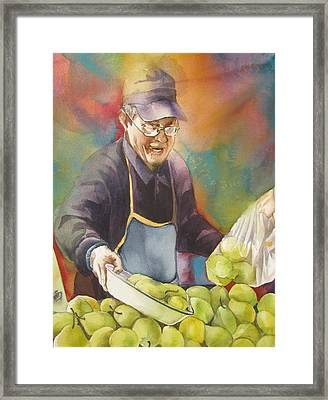 Chinese Pear Seller Framed Print by Alfred Ng