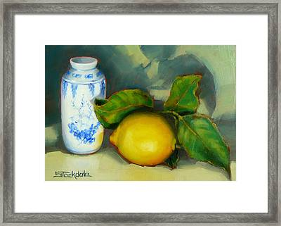 Chinese Pot And Lemon Framed Print