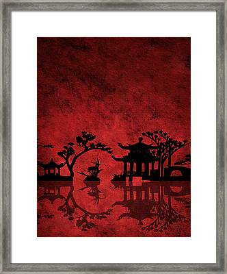 Framed Print featuring the digital art Chinese Red by Bruce Rolff