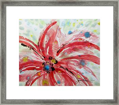 Chinese Red Flower Framed Print by Joan Reese