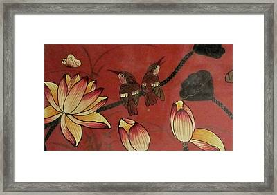 Chinese Red Lacquer Chest Detail Framed Print
