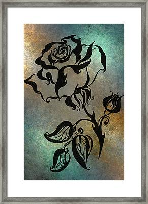 Chinese Rose. Blue Framed Print by Jenny Rainbow