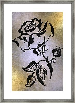 Chinese Rose. Golden Framed Print by Jenny Rainbow
