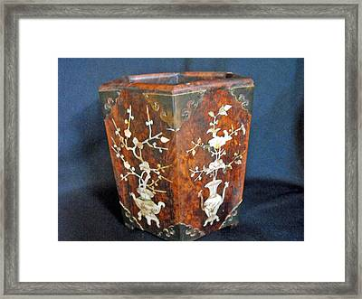 Chinese Scholar's Brush Container Framed Print by Anonymous