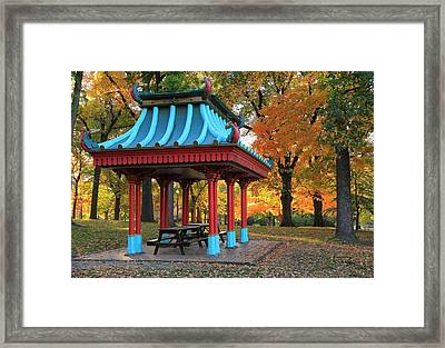 Chinese Shelter In Autumn Framed Print