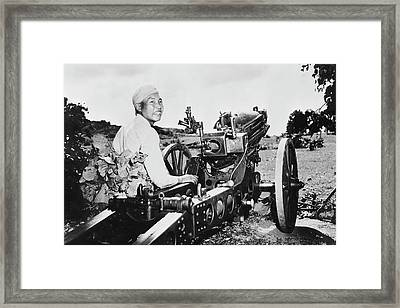 Chinese Soldier Smiling Proudly Framed Print