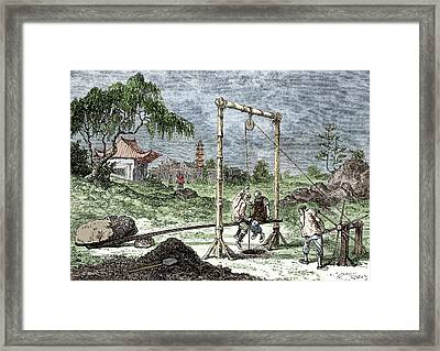 Chinese Springboard Drilling Framed Print